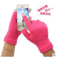 Wholesale Knit Glove Iphone - 2016 Winter Warm Touch Screen Glove Knit Cotton Capacitive Screens Conductive Gloves for iphone 7 6 6S plus ipad Christmas gift