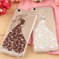 Discount cameo wedding dress - 2016 Newest Wedding Dresses Girl 3D cameo Relief Crystal Clear Case for Iphone 6 6plus case bling rhinestone cover