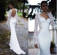Wholesale 28 Gowns - New Sexy Backless Lace Long Sleeve White Ivory Mermaid Trumpet Wedding Dress Bridal Gown Custom Made 2 4 6 8 10 12 14 16 18 20 22 24 26 28