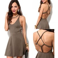 Wholesale Ladies Sexy Apparel - 2016 Summer Fashion Sexy Backless Brown Color Casual Dress Women Loose Evening Ladies Mini Party Dresses Apparel QZ923