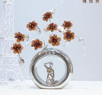 Wholesale modern round vase - Modern Lucky round 22 Shapes Ceramic Vase for Home Decor Tabletop this pirce is for a set vase and flowers together