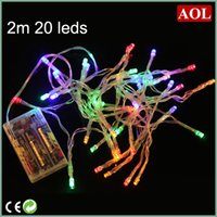 Wholesale Battery Operated Multi Color Lights - 3XAA Battery 2m 20 LED string MINI FAIRY LIGHTS BATTERY power OPERATED White Warm white Blue Red Yellow Green Pink Purply multi-color