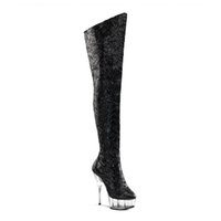 Wholesale High Heels Pole - Customize New Pole Dancing Up Stiletto Sexy Over-the-knee Platform Boots Extreme High Heel 15cm Heel With Platform Women Shoes D0131