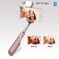 Wholesale Universal Mirror Led - Bluetooth Selfie Stick with 360 Degree Led Fill Light and Rear Mirror Extendable and Foldable Wireless Monopod Gold PINK High Quality