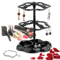 Wholesale Earring Display Hook Racks - Three-tier Rotatable Fashion jewelry display stand earring holder rack Hanger Stand Organi zeraccessories rotating stand