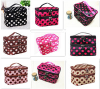 makyaj tutucuları toptan satış-20pcs hot sale 8 designs Makeup Cosmetic Bags Toiletry Retro Dot Beauty Wash Case Organizer Holder Handbag For Travel