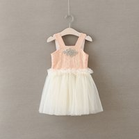Wholesale Baby Party Dress Free Ems - EMS DHL Free Shipping ! Wholesale NEW Pink Aqua Sequin Rhinestone Sash Princess Baby Girls Toddlers Party dress Tiers Lace Dress