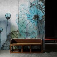 kulisse chinesisch großhandel-Große Fresken Chinese Backdrop Retro Lotus Blume Handgemalte Sofa Wohnzimmer Studieren 3D Wallpaper Seamless Wallpaper
