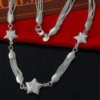 Wholesale Copper African Choker - Factory direct african jewelry wholesale 925 Sterling Silver 3 scrub Star Fashion Silver Necklace for women chokers christmas gift