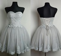 Wholesale Homecoming Dresses Corset Backs - Silver Gray Tulle Lace Short Homecoming Dresses Sweetheart Ball Gown Corset Lace Up Short Prom Dresses Cute Party Dresses