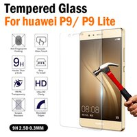 Wholesale Huawei P6 Free Shipping - Free shipping 10PCS Huawei P9 Tempered Glass Screen Protector 0.33mm 2.5D Tempered Glass Screen Protector For Huawei P9 lite No Packaging