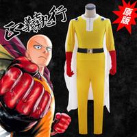 ingrosso guanti gialli-Anime giapponese One Punch Man Costume Cosplay Saitama Tuta gialla + Mantello bianco + Guanto rosso + Cintura nera per set