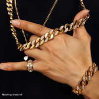 Wholesale W Ice - Men Hip Hop ICED OUT 18K Gold Plated W CZ Curb Miami Cuban Link Chain Necklace & Bracelets Bling Bling Jewelry Set
