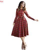 Wholesale Knee Hight Dresses - Women Shirt Dress Fashion Autumn Pleated A-line Plaid Dress Print long Sleeve Hight Waist Dress O Neck Casual Red Long Sleeve Dress SV029280