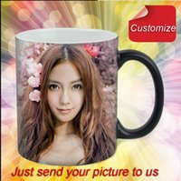 Drop shipping DIY Photo Magic Cor Changing Coffee Mug custom sua foto em Tea Cup Black color melhor presente para amigos