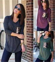 Wholesale Purple Plaid Shirt Women - Women patchwork T-Shirt Ladies Spring Autumn Sequins pocket Blouses long sleeve Polyester Tops Casual O-Neck shirts 3colors