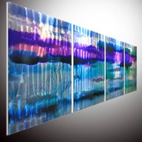 kunst wand metall aluminium großhandel-Metallwand Kunst. Ölgemälde Wandkunst. Malerei auf Aluminium. Metall Malerei Wandkunst. Metal Wall Original abstrakte Wand Kunst auf Aluminium