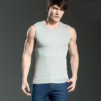Wholesale White Tank Top Large - Men's Cotton Vest Broad Shoulders Sport Waistcoat Tank Tops Vest Sleeveless Vest Underwear Breathable Elasticity Large Size wholesale