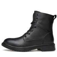 Wholesale Demin Top - 35-50 Big Size Genuine Leather Men Snow Boots Winter High Top Plus Velvet Men Boots Flats Keeping Warm Men Motorcycle Boots