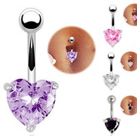 Wholesale Navel Ring Purple - 1Pc Stainless Steel Barbell Button Heart Navel Belly Ring Body Piercing 4Colors Purple Pink Clear Dark Purple