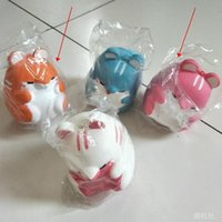 Wholesale Hamsters Free Shipping - 4 Colors hamster Squishy Kawaii Buns Bread Charms Bag Key Cell Phone Straps Pair Random Soft Panda Squishy Bread Semll Free Shipping