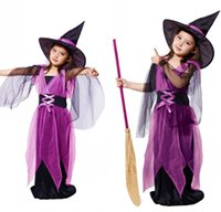 Wholesale stage dresses sale - Hot Sale Children Witch Girls dress kids Halloween Costumes for girls Party Cosplay halloween Kids Costume with Devil Hat Dress 2pcs A5683