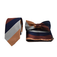 Wholesale Men S Stripe Bow Ties - Free shopping Mens Striped Silk Jacquard Sets Men 's tie suit three - piece suit Pocket Square Gift Tie