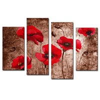 Amesi 2016 New Fashion Red Beautiful Flowers Peintures Canvas Spray Peinture Wall Art Pictures for Decor