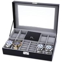 caixas de relógio de luxo venda por atacado-Atacado-8 Grades + 3 Grades Mistas Watch Case Luxo Jóias Decoração Display de armazenamento relogios Box PVC Watch Box Case Caixas de presente de couro