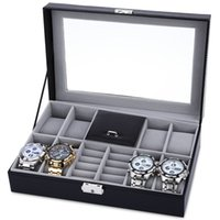 Wholesale Grids Mixed Grids Watch Case Luxury Jewelry Decoration Storage Display relogios Box PVC Watch Box Case Leather Gift Boxes