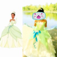 Wholesale Princess Frog Dress - Customized The Princess and the Frog Cosplay Princess Tiana Dress Adult Princess Tiana Costume Halloween Party Costume For Women