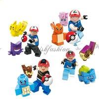 Wholesale Minifigures Turtles - Pocket minifigures DIY Building Blocks children Poke go Pikachu Jeni turtle Charmander Poke Ball DIY Bricks Toys 4style M261-B