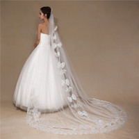 Wholesale Tulle Bow Veil - White Vintage Cheap Tulle Bride Cathedral Long Bridal Lace Wedding Veils 3 Meters velos de novia voile mariage With Bow