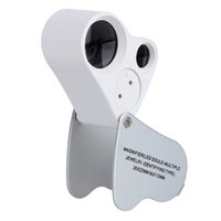 Wholesale jewelry light magnifier online - Dual Magnifier Jewelry Loupes x mm x mm Magnifier Loupe Magnifying Glass With LED Light Folding Microscope Magnifiers Loupes Jewelry