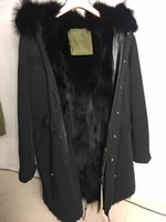 Wholesale Men Detachable Real Fur Collars - MR & MRS FURS couples Long parkas hooded with real raccoon fur collar detachable real fox fur liner