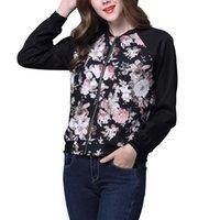 Wholesale Baseball Jacket Lined - Wholesale- Floral Jacket Women Spring Autumn No Lining Baseball Uniform Women Ditsy Print Outwear jaqueta femininas Plus Size XL DM#6