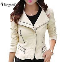 Wholesale leather jacket women slim rivet - Wholesale- TANGNEST Plus Size M-5XL Fashion 2016 Autumn Winter Women Leather Coat Female Slim Rivet Leather Jacket Women's Outerwear WWP108