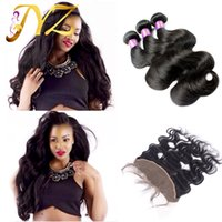 Wholesale Virgin 4pcs Mix - Brazilian Peruvian Lace Frontal Closure With Bundles Body Wave Vrgin Human Hair 4Pcs Ear To Ear Lace Frontal 13x4 Full Lace Frontal