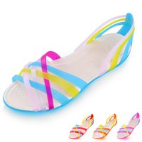 Wholesale Shoes Crystal Plastic Jelly - New Women Sandals Candy Colors Breathable Plastic Jelly Crystal Shoes Sandals for Women Flats Top Quality Beach Shoes