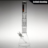 Wholesale Tree Arm Beaker Bong - NEW ZOB glass Mini Double 10 Arm Tree Beaker Tech bongs glass bong water pipes thick glass free shipping