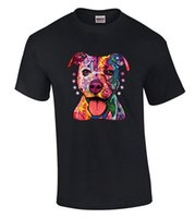 Wholesale Concert Tees - Cotton Jersey Mens Tees Neon Pitbull Colorful T-shirt Abstract Dog Face Graphic Shirts Comfort Soft Concert Tees