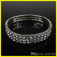 Wholesale Rowing For Sale - Hot Sale Cute 3 Row Rhinestone Stretch Bangle Wedding Bracelets Bridal Jewelry Free Ship Cheap Bracelet for Bride Party Evening Prom 15006