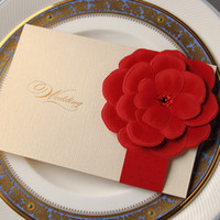 Wholesale Handmade Party Favors - Hot Sale Personlized Wedding Cards Handmade Ivory with Big Red Flower Stamping Uneven Unique Wedding Invitations Cards Wedding Favors