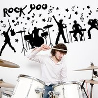 Wholesale Large Mural Wallpaper - 60*90cm Wall Stickers DIY Art Decal Removeable Wallpaper Mural Sticker for Living Room Bedroom SK9013 Rock Band Black