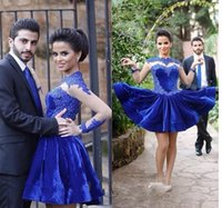 Wholesale prom dress sale free shipping for sale - Group buy Best Sale Sheer Royal Blue Cocktail Dresses Lace Appliques Short Special Prom Dress With Long Sleeves High Neck Party Dress