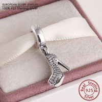 Wholesale Sterling Silver Crimps - Mother's Day Dangle Stiletto Beads Fits Pandora Bracelets Authentic 925 Sterling Silver Pave CZ Shoe Charm Bead Diy 2016 Jewelry