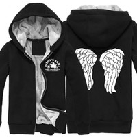 Großhandel-Winter Super Warm der Walking Dead Hoodie Zombie Daryl Dixon Wings Fleece Zip Up Mens Bekleidung Mantel Sweatshirts Größe M - 5XL