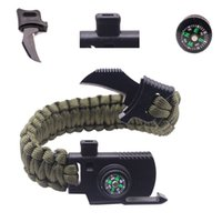 Wholesale Rope Rescue - Outdoor Knife Survival Bracelets Camping Rescue Parachute Cord Compass Bracelet & Bangles Wristband Emergency Kits