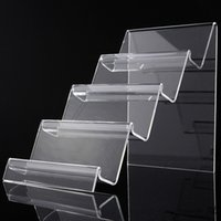 Wholesale Acrylic Book Display Stands - 2016 New Arrive 4 Layers Clear Acrylic Display Case Shelf Purse Rack Book DVD Literature Stand Organizer Holder
