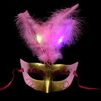 Wholesale Novelty Powders - LED Party Hallowmas Mask Face Mask Novelty RGB Flash Mask Gold Powder Princess Feather Mask PVC Masquerade Venetian Masks New Holiday Mask